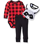 Bon Bebe 3 Piece Bodysuit, Pant and 3D Bib Set, Lumberjack Raccoon, 6-9 Months