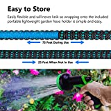 """Rolio Expandable Garden Hose with Hose Reel - 50 FT Garden Hose with 9 Function Spray Nozzle Included, 3/4"""" Solid Brass Fittings, No Kinks"""