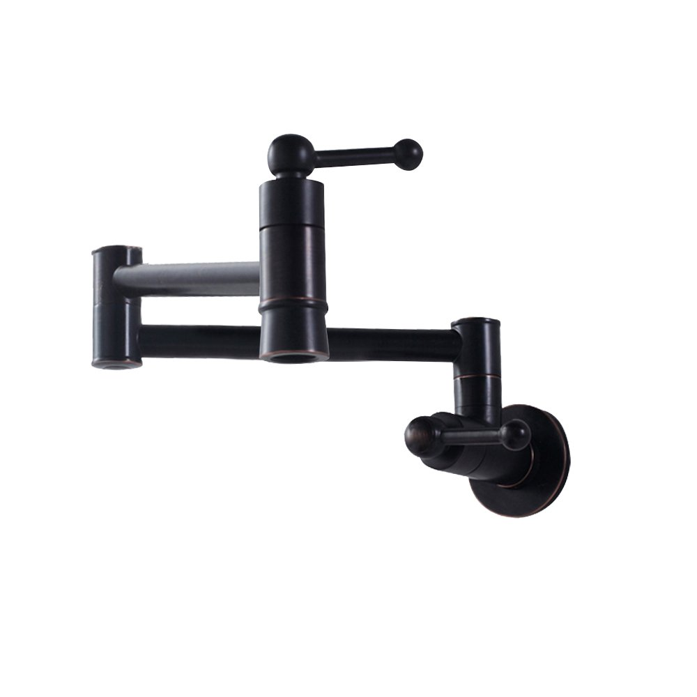 SARLAI S0005F Stainless Steel Pot Filler Oil Rubbed Bronze Wall Mount Kitchen Faucet, Single Hole Two Handle Kitchen Sink Faucet