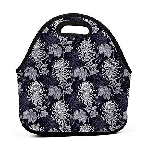 Rugged Lunchbox Floral,Gothic Flower Bouquet Chrysanthemum Blooming Harvest Baroque Artful Motif,Indigo Pale Grey,pottery barn lunch bag for kids