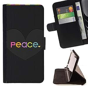 PASTEL COLORS HEART PEACE BLACK LOVE GREY/ Personalizada del estilo del dise???¡Ào de la PU Caso de encargo del cuero del tir????n del soporte d - Cao - For Samsung Galaxy S5 Mini, SM-G800