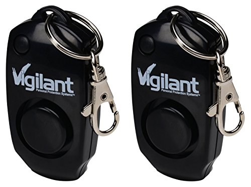2-Pack Vigilant 130dB Personal Alarm - Backup Whistle - Button Activated with Hidden Off Button - Bag Purse Key Chain Keyring Clip - Batteries Included - for Men Women Kids Students (PPS-23BLK 2 Pack) by Vigilant Personal Protection Systems