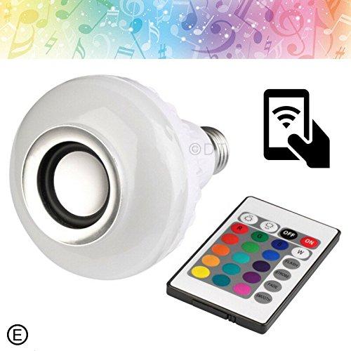 LED RGB Color Bulb Light E27 Bluetooth Control Smart Music Audio Speaker Lamps For Sale