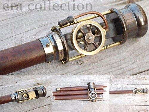 Vintage Retro Styl live Steam Engine Model Wooden Walking Cane Stick Brass Stave