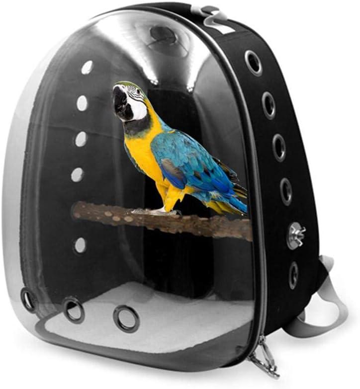 Mochila Porta Mascotas para Loros, pájaros, Gatos pequeños y Perros, Jaula de Viaje con cápsula Espacial Transparente Transpirable con diseño de Cremallera panorámica