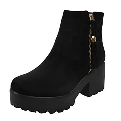 578cdbbd3060 Loud Look Womens Ladies Girls Mid Heel Block Chunky Platform Chelsea Ankle  Boots Shoes Size 3