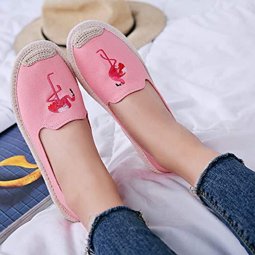 Tenue Plates Chaussures 40 Pour Dcontracte Femmes Qiusa couleur Une Taille Eu Toile Imprim Rose En Animalier Rose Avec 4pAHqvp
