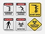 Ambesonne Zombie Bath Mat, Warning Signs for Evil Creatures Paranormal Construction Design Do Not Open Artwork, Plush Bathroom Decor Mat with Non Slip Backing, 29.5 W X 17.5 W Inches, Multicolor