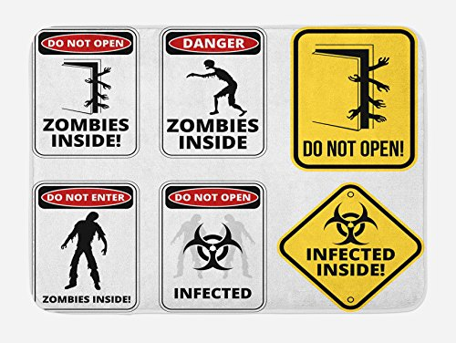 Ambesonne Zombie Bath Mat, Warning Signs for Evil Creatures Paranormal Construction Design Do Not Open Artwork, Plush Bathroom Decor Mat with Non Slip Backing, 29.5 W X 17.5 W Inches, Multicolor by Ambesonne