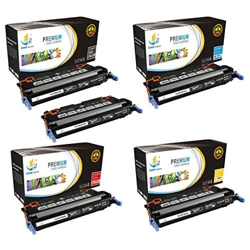 Discount Catch Supplies Replacement HP 501A / 503A toner cartridge 5 pack set |2 Black Q6470A, Cyan Q7581A, Yellow Q7582A, Magenta Q7583A| compatible with the HP Color LaserJet 3800 and CP3505 printer series for cheap