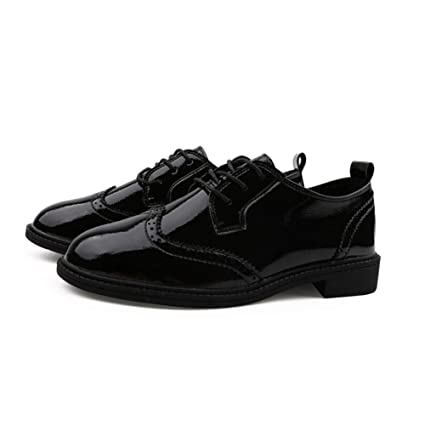 bfc96ce744f62 Amazon.com: MEMIND Spring Patent Leather Small Leather Shoes Female ...
