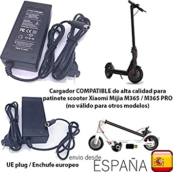 androgeek Cargador de batería Compatible con Enchufe UE únicamente válido para Patinete Scooter Xiaomi Mijia M365 o M365 Pro Adaptador 42 V 2A para ...