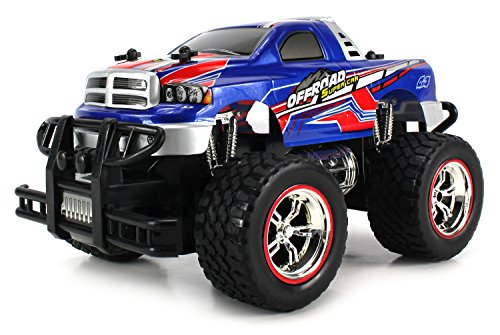 Mini V-Thunder Storm Remote Control Monster Pickup Truck 1:24 Scale Size Off Road Series Rechargeable Ready To Run RTR (Colors May Vary)
