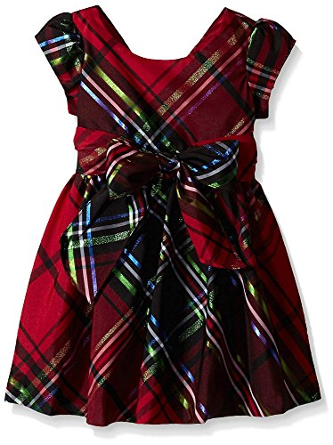 Bonnie Jean Plaid Dress - Bonnie Jean Girls' Toddler Taffeta Plaid Bow Front Dress, Red, 2T