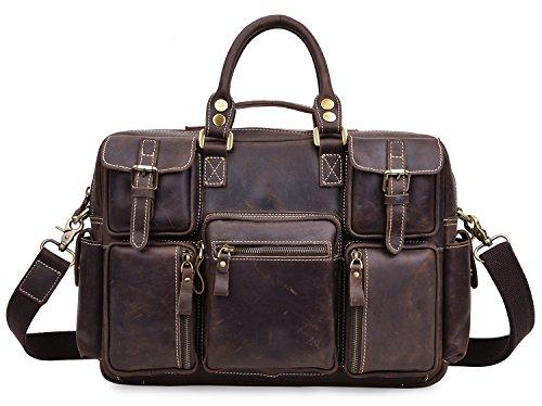ALTOSY Men Vintage Genuine Leather Briefcase Laptop Messenger Shoulder Travel Bag 8058 (dark brown) by Altosy