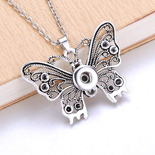 Gimax New Butterfly Snap Necklace Snap Buttons Christmas Pendant Necklaces Button Snap Jewelry Fashionable Jewelry - (Metal Color: 12mm)