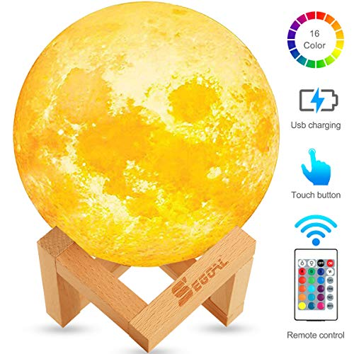 Moon Lamp Moon Light Kids Night Light Galaxy Lamp 16 Colors LED 5.9 Inch 3D Lamps with Wood Stand, Touch & Remote Control & USB Rechargeable Baby Light Perfect Gift for Girls Lover Birthday Christmas