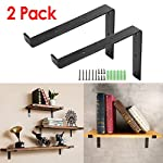 KINGSO Metal Wall Shelf Brackets 8''L x 6''H Rustic Shelf Supports, Flush Fit, Hardware Only - Bracket Set Of 2, Includes Screws & Wall Anchors