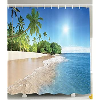 Ambesonne Ocean Shower Curtain Decor By Tropical Palm Trees On A Sunny Island Beach Scene Panoramic View Picture Fabric Bathroom Set With