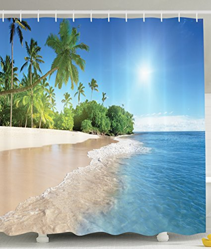 Ambesonne Ocean Shower Curtain Decor by, Tropical Palm Trees on a Sunny Island Beach Scene Panoramic View Picture, Fabric Bathroom Shower Curtain Set with Hooks, Blue Green White (View Bath)