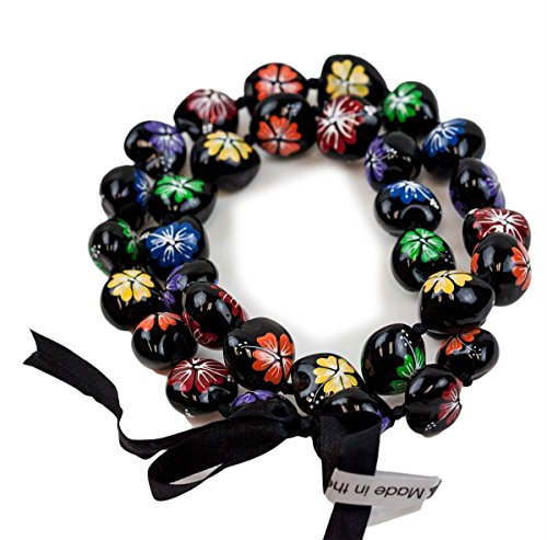 Barbra Collection Hawaiian Style Kukui Nut Lei Hibiscus Hand Painted Rainbow Flower 32 - Kukui Lei
