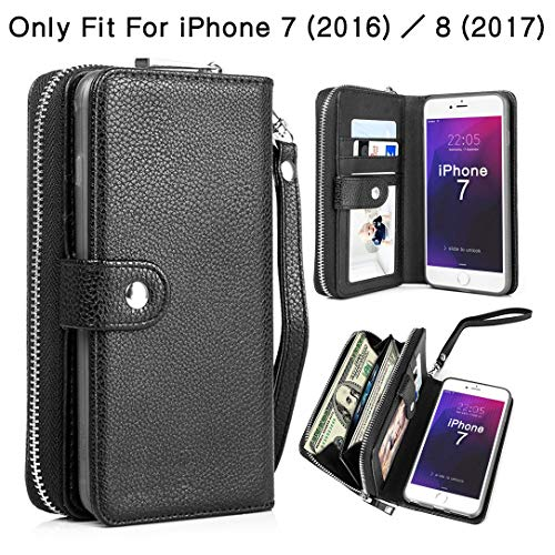 (PASONOMI iPhone 8 Case, iPhone 7 Zipper Wallet Case, PU Leather Protective Shell Detachable Folio Flip Holster Carrying Case with Strap and Card Holder for iPhone 8/7 4.7 inch (Black))