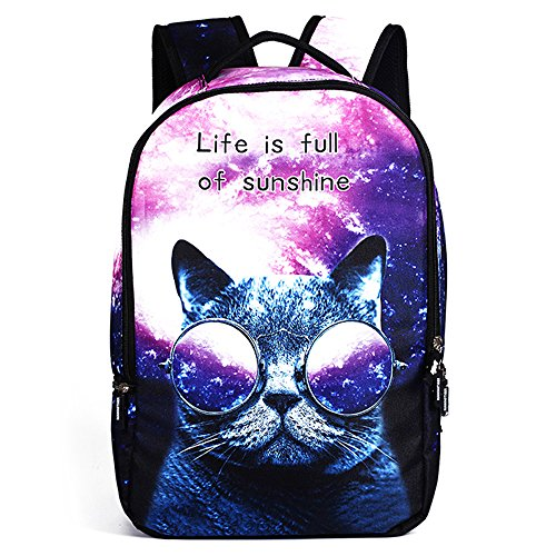 Price comparison product image Funny Cute Animal Cat Dog 3D Print School Backpack Outdoor Hiking Travel Knapsack Laptop Computer Rucksack Student Book Bags Fashion Daypack For Men Women Teen Boys Girls Children