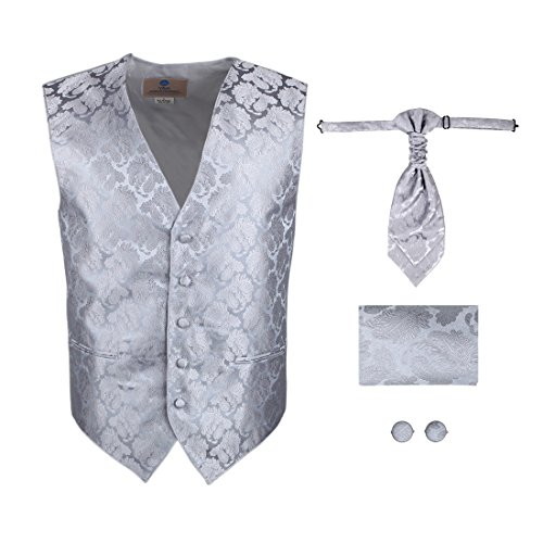Y&G VS2006-2XL Silver Paisleys Fashion Vests Cufflinks Hanky Ascot Tie