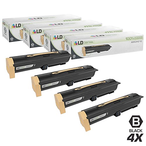 LD Remanufactured Replacement for Lexmark X850H21G Set of 4 Black Laser Toner Cartridges for use in Lexmark X850e, X850e VE3, X850e VE4, X852e, and X854e Printers