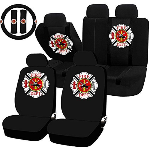 11 Piece Auto Interior Gift Set - Fire Fighter Firefighter Maltese Cross - A Set of 2 Seat Covers, 1 Rear Bench Cover, 1 Steering Wheel, and a Set of 2 Seat Belt Pads