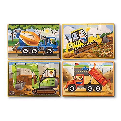 Melissa & Doug Construction Vehicles 4-in-1 Wooden Jigsaw 12-Piece Puzzles (Beautiful Original Artwork, 48 Pieces Total)