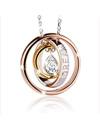"""J.Rosée Sterling Silver Pendant Necklace Engraved """"Dream"""" Trinity Waterdrop Necklace Exquisite Gift Package (45cm+3)"""