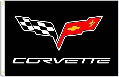 Banner Flag for Corvette Flag 3x5FT Wall Banner Shop Show Decor Black//115