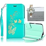 Samsung Galaxy S4 Case, Bonice 2 in 1 Accessory Bronzing Butterfly PU Leather Wallet Case Flip Practical Book Style Magnetic Snap [Card Slots] [Hand Strip] Multi-Function Design Cover + Diamond White Flower Antidust Plug, Green
