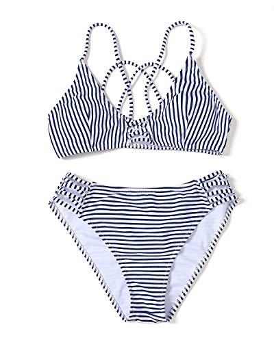 YOLIPULI Womens Blue-White Striped Bikini Swimsuit : Two Piece Strappy Cross Push Up Bikini Swimwear Bathing Suit Bikini Set-Strip Medium