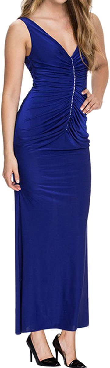 Sue/&Joe Womens Evening Gown Deep V-neck Ruched Low Back Ankle Length Party Dress 6//8 Blue