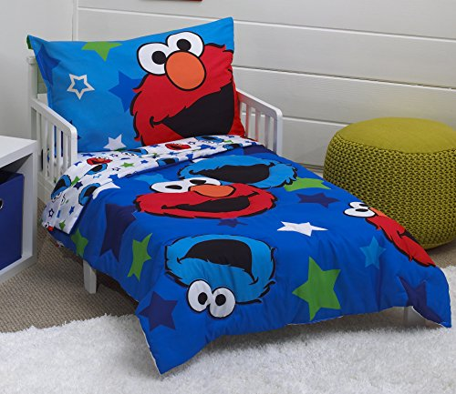 Sesame Street Awesome Buds Elmo/Cookie Monster 4 Piece Toddler Bed Set, Blue/Red/Green (Cookie Toddler)