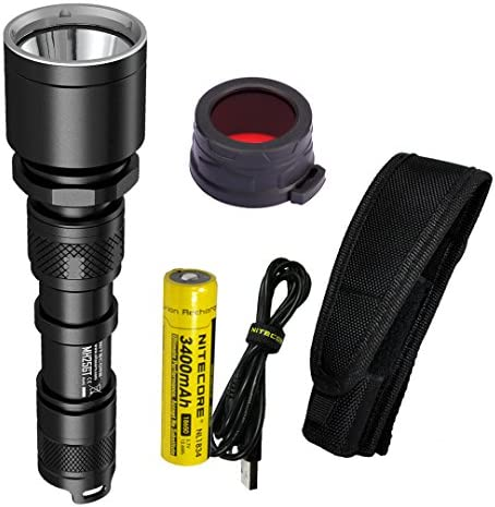 Nitecore MH25GT 1000 Lumen 494 Yards USB Rechargeable LED Coyote Hunting Light with Lumen Tactical Adapters and 40mm Red Filter NFR40 Upgrade for MH25