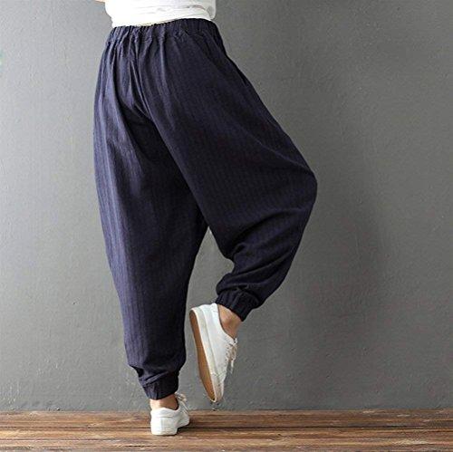 Monocromo Boho Lino Primaverile Pantaloni 3 Lanterna 4 Accogliente Di Hip Moda Marca Eleganti Donna Mode Navy Vita Elastica Hop Outdoor Blau Aladin Autunno UFaOrFqn