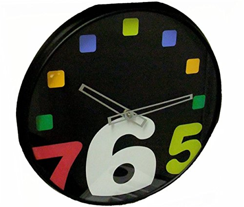 at-home-with-meijer-wall-clock-13-inch-black-plastic-case-with-colored-numbers