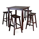Winsome's Parkland 5-Piece Square High/Pub Table Set in Antique Walnut Finish