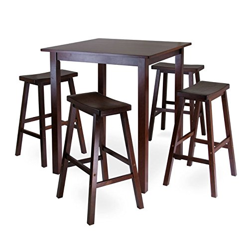 Winsome's Parkland 5-Piece Square High/Pub Table Set in Antique Walnut Finish by Winsome Wood