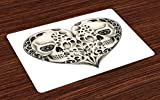 Ambesonne Day of The Dead Place Mats Set of 4, Twin Half Fire Design in Heart Shapes Festive Spanish Image Print, Washable Fabric Placemats for Dining Room Kitchen Table Decor, Cream and Black