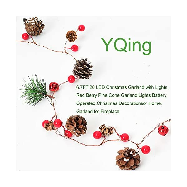 YQing 204cm Bacca Natale Ghirlanda, LED Ghirlanda Natalizia Bacca Rossa Natale Ghirlanda di Pino per Le Decorazioni Natalizie di Capodanno per Le Vacanze di Natale 2 spesavip