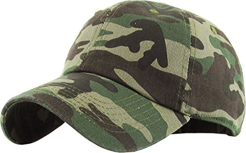 KB-LOW CAM Classic Cotton Dad Hat Adjustable Plain Cap. Polo Style Low Profile (Unstructured) (Classic) Camouflage Adjustable