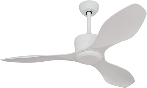 Goozegg 52 Inch Low Profile Ceiling Fan with Remote Control, 3 ABS Blades, White