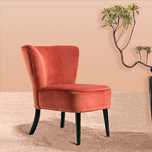 Rust Red Upholstered Velvet Accent Chair/Emille Armless Wingback Chair - Rust