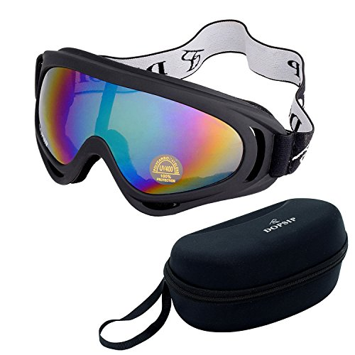 OBAOLAY Ski Goggles,Skate Glasses with UV 400 Protection Outdoor Motorcycle Bicycle Windproof Glasses Anti-sand Glasses Tactical protective glasses and Box