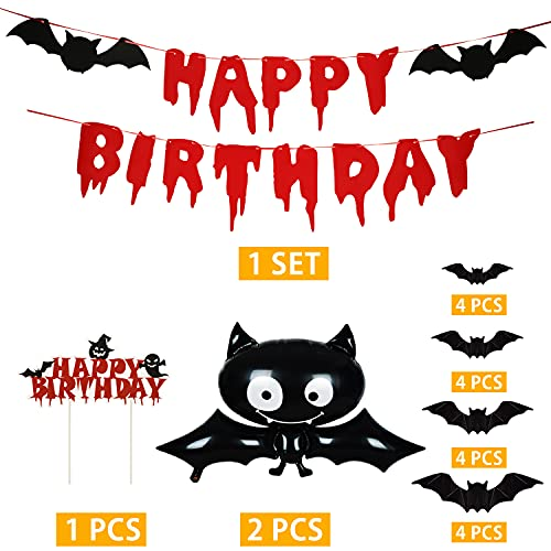 Halloween Party Decorations Kit Happy Birthday Cake Topper Banner Halloween Bat Foil Balloons with 3D Bat Stickers for Boy Girls Adult Halloween Theme Birthday Party Supplies