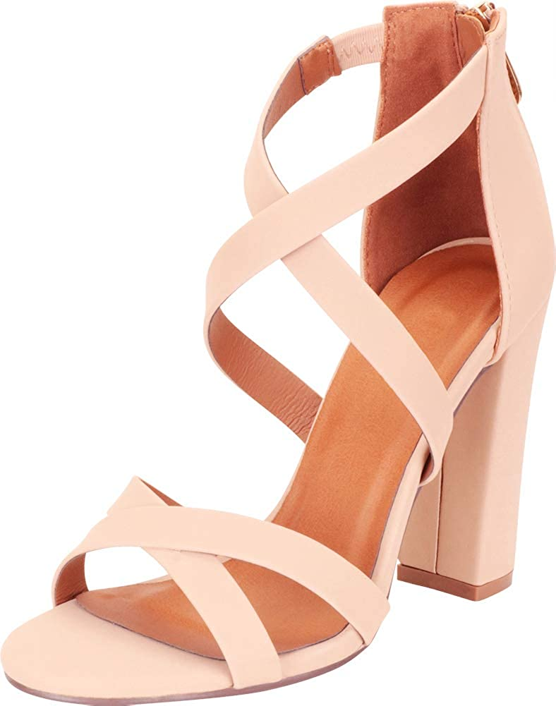 Nude Nbpu Cambridge Select Women's Crisscross Strappy Chunky Block High Heel Sandal